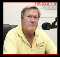 KTHO Owner Darrell Wampler in the Ski Run Marina studio.
